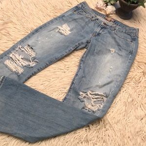 """A&F-""""Vintage 5 pocket"""" style-very distressed-4L"""